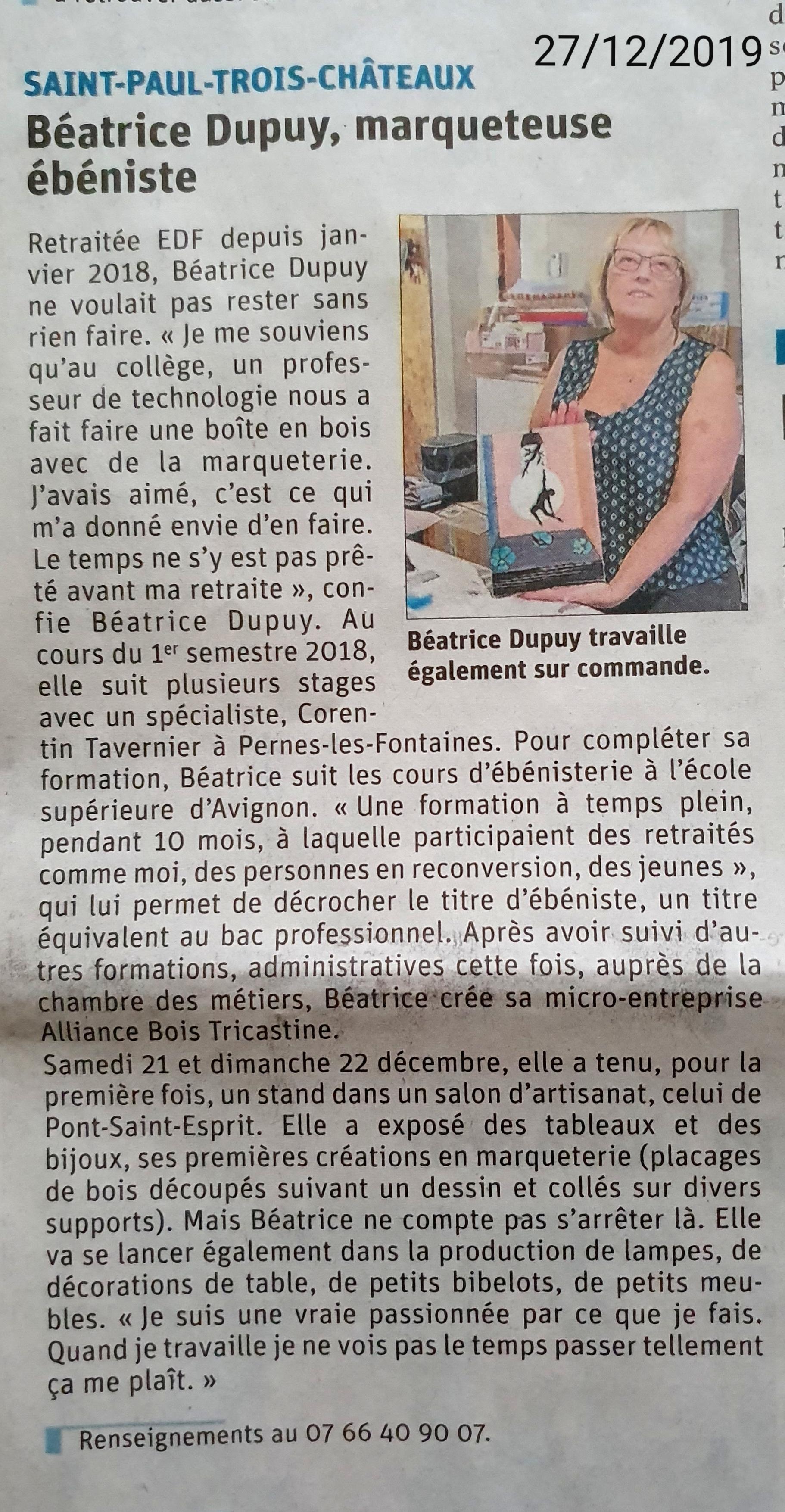 """Journal """"Le Dauphiné"""" - F. PREVOT - 26/12/2019"""