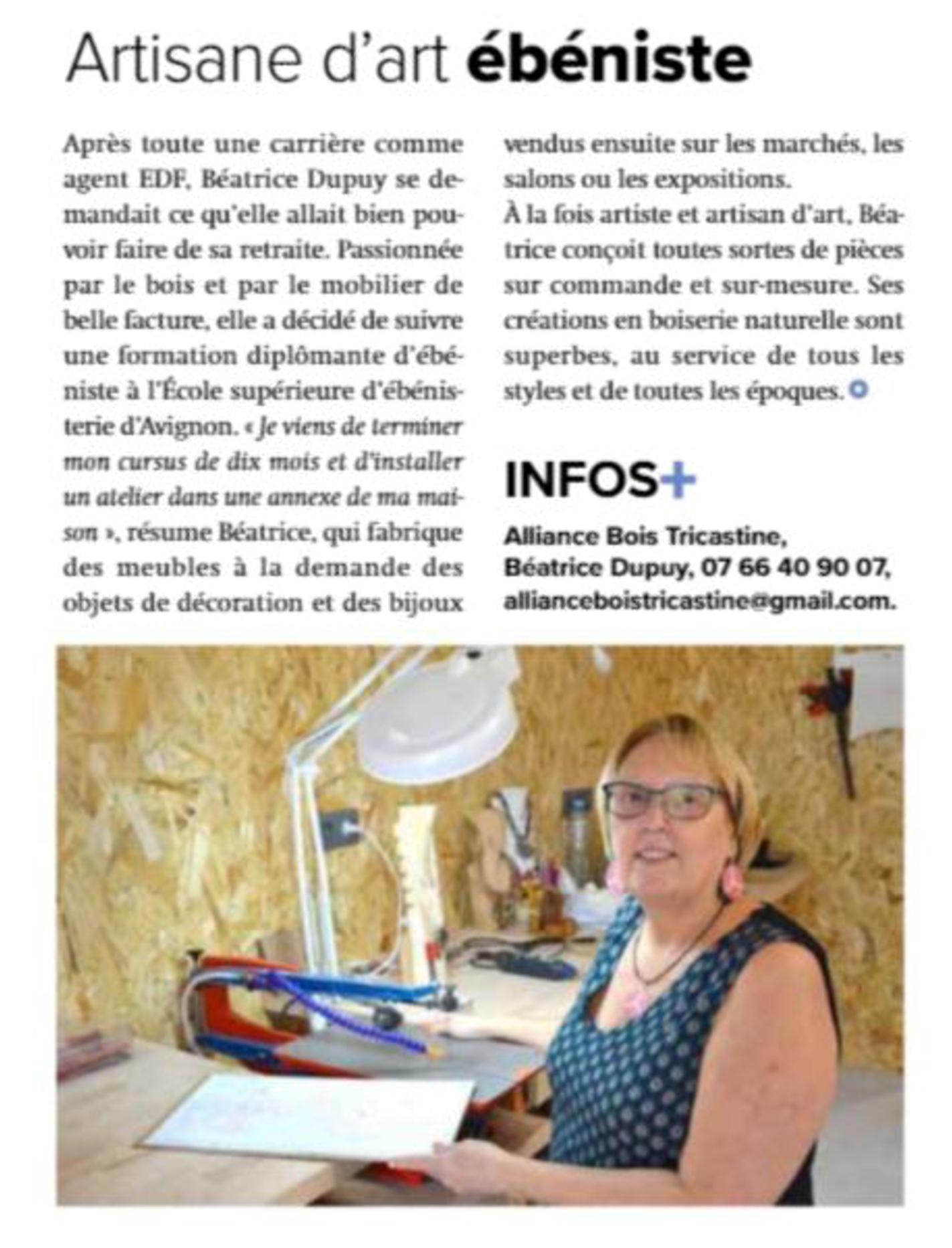 Article Alliance Bois Tricastine en Drôme Provençale (26130)